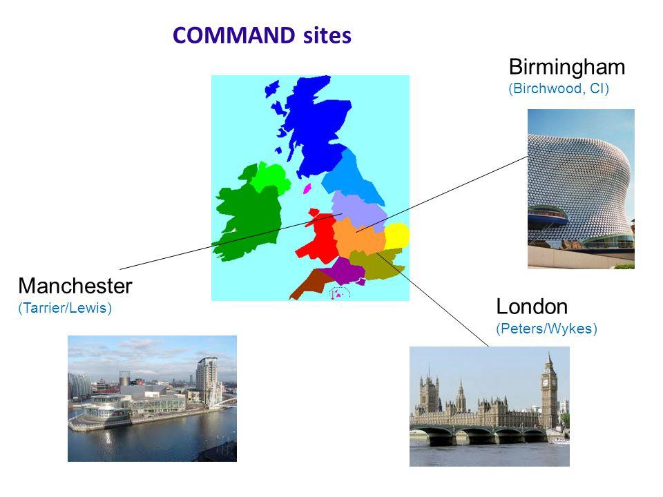 Birmingham (Birchwood, CI) Manchester (Tarrier/Lewis) London (Peters/Wykes) COMMAND sites