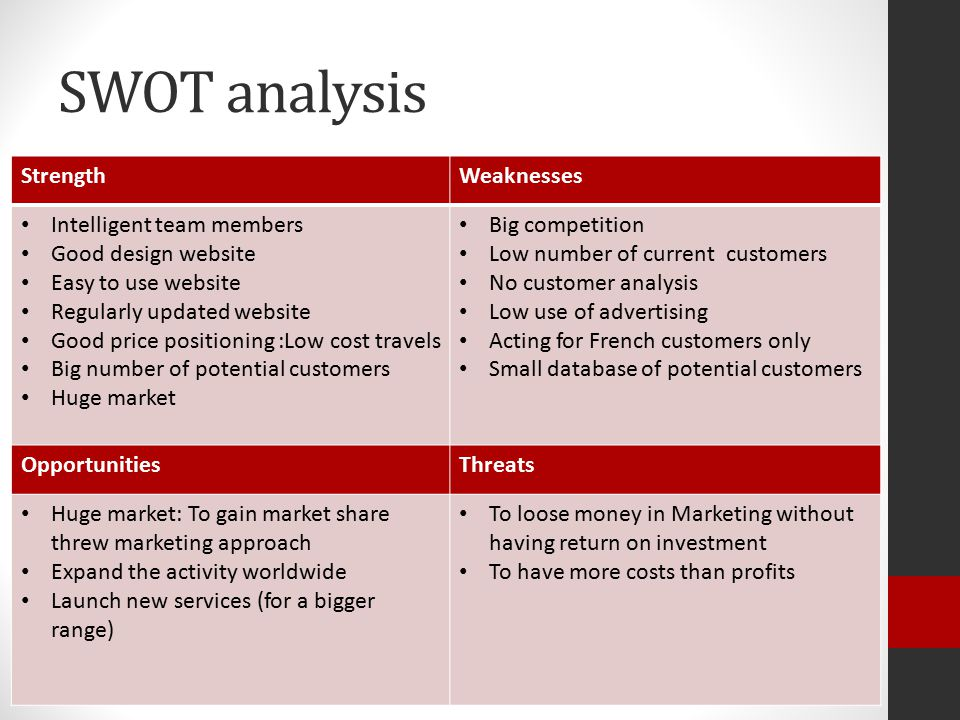 SWOT analysis StrengthWeaknesses Intelligent team members Good design website Easy to use website Regularly updated website Good price positioning :Low cost travels Big number of potential customers Huge market Big competition Low number of current customers No customer analysis Low use of advertising Acting for French customers only Small database of potential customers OpportunitiesThreats Huge market: To gain market share threw marketing approach Expand the activity worldwide Launch new services (for a bigger range) To loose money in Marketing without having return on investment To have more costs than profits