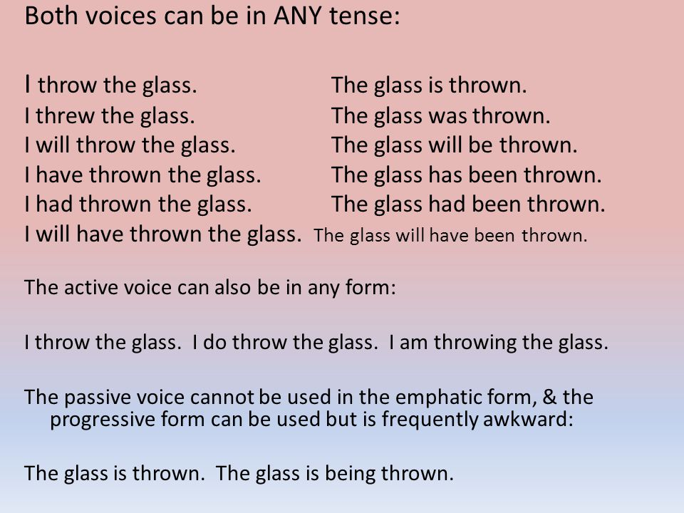 Both voices can be in ANY tense: I throw the glass.