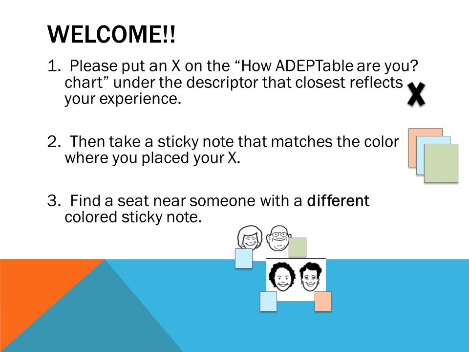 WELCOME!. 1. Please put an X on the How ADEPTable are you.