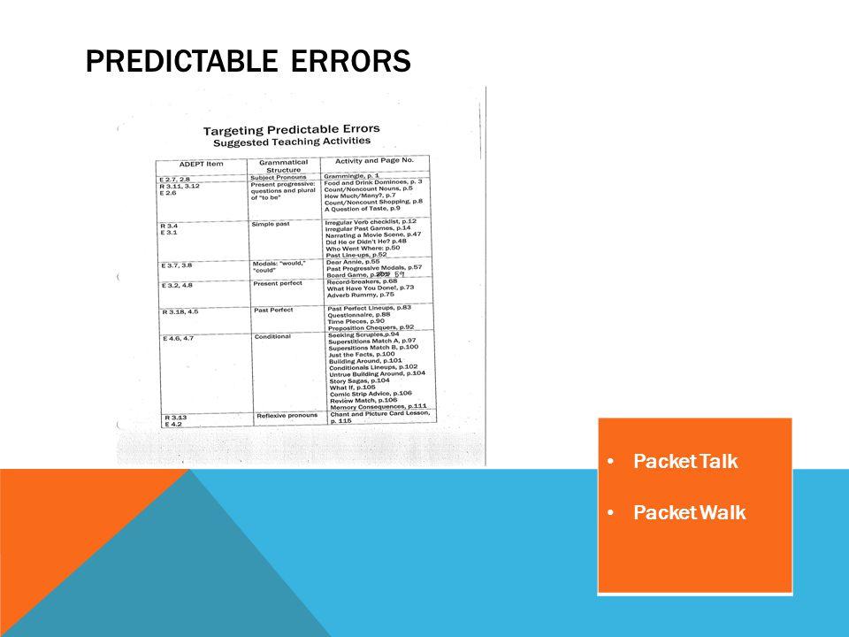 PREDICTABLE ERRORS Packet Talk Packet Walk