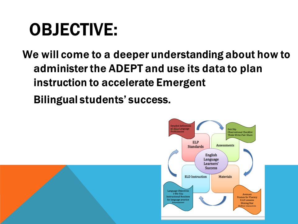 OBJECTIVE: We will come to a deeper understanding about how to administer the ADEPT and use its data to plan instruction to accelerate Emergent Bilingual students' success.