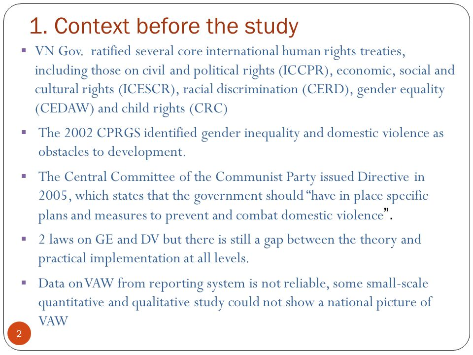 1. Context before the study 2  VN Gov.