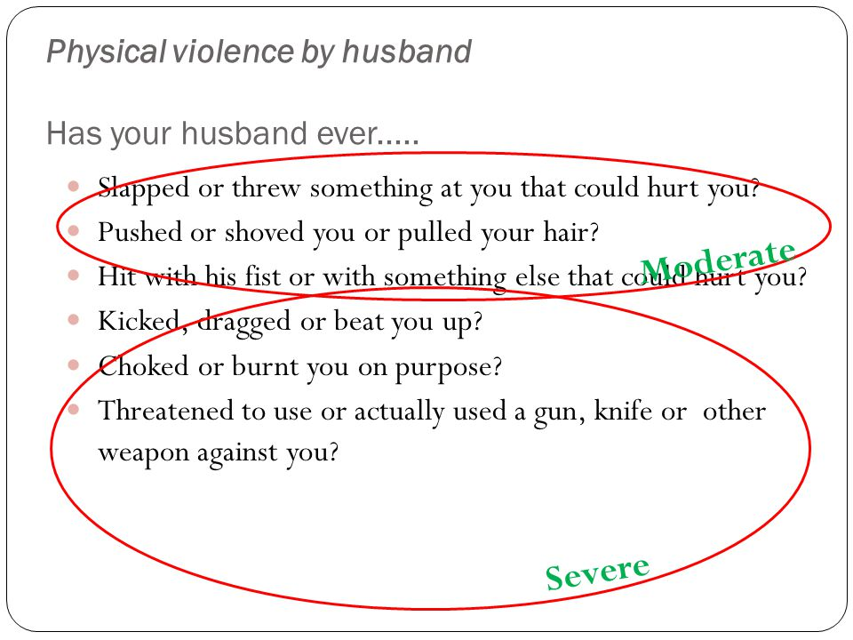 Physical violence by husband Has your husband ever.....