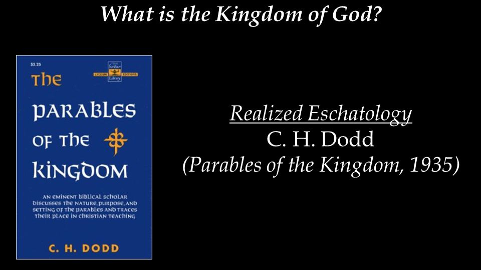 What is the Kingdom of God? Realized Eschatology C. H. Dodd (Parables of the Kingdom, 1935)