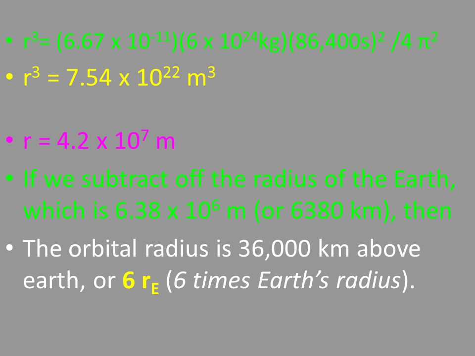 r 3 = (6.67 x 10 -11 )(6 x 10 24 kg)(86,400s) 2 /4 π 2 r 3 = 7.54 x 10 22 m 3 r = 4.2 x 10 7 m If we subtract off the radius of the Earth, which is 6.38 x 10 6 m (or 6380 km), then The orbital radius is 36,000 km above earth, or 6 r E (6 times Earth's radius).