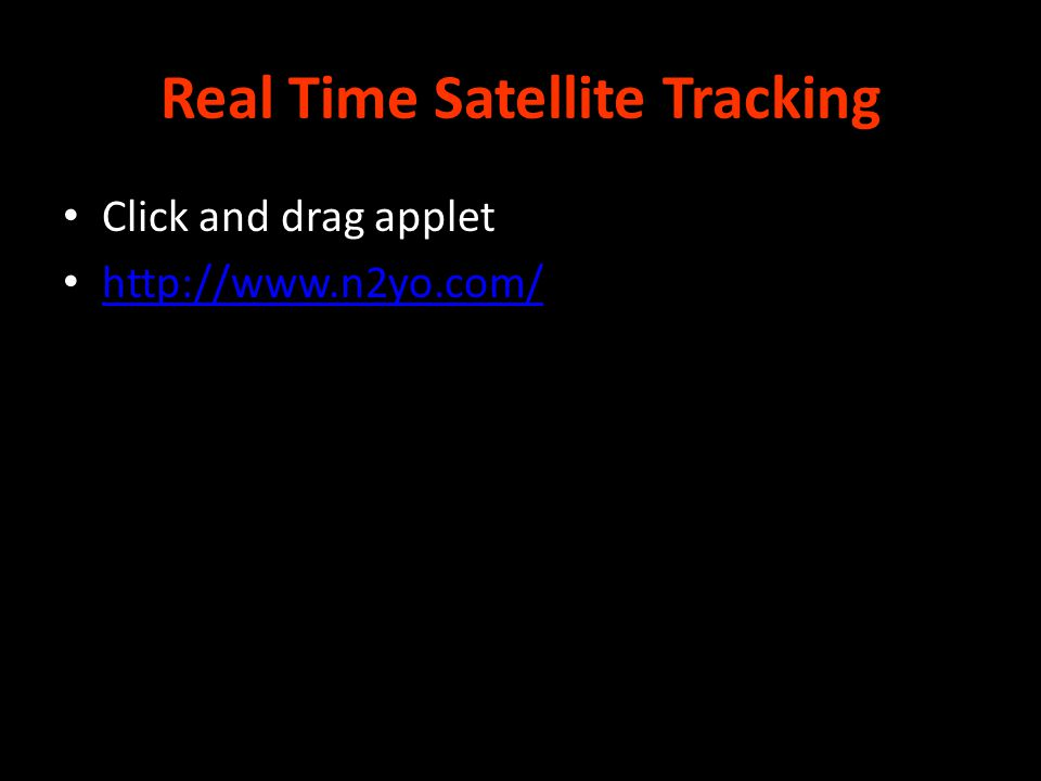 Real Time Satellite Tracking Click and drag applet http://www.n2yo.com/