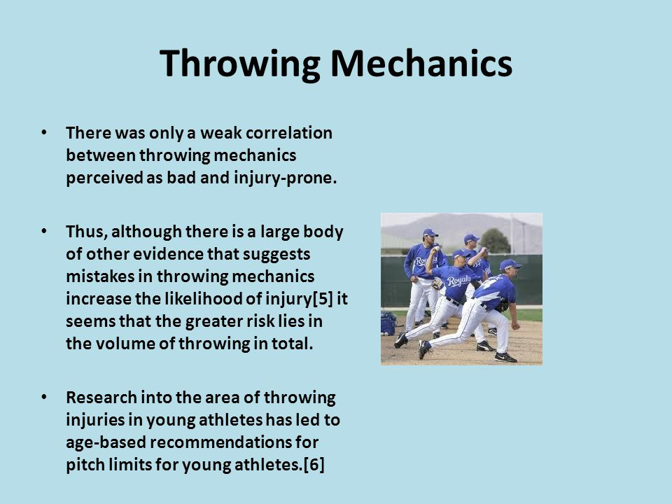 Throwing Mechanics There was only a weak correlation between throwing mechanics perceived as bad and injury-prone.