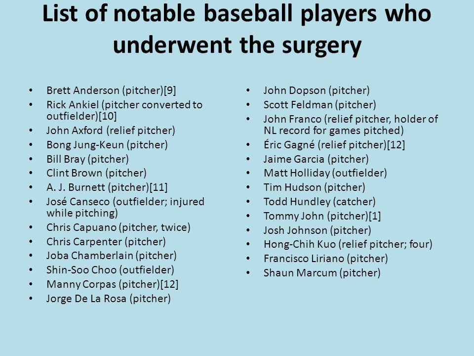 List of notable baseball players who underwent the surgery Brett Anderson (pitcher)[9] Rick Ankiel (pitcher converted to outfielder)[10] John Axford (relief pitcher) Bong Jung-Keun (pitcher) Bill Bray (pitcher) Clint Brown (pitcher) A.