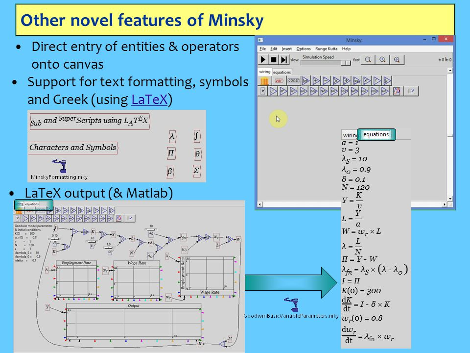 Other novel features of Minsky Direct entry of entities & operators onto canvas Support for text formatting, symbols and Greek (using LaTeX)LaTeX LaTeX output (& Matlab)