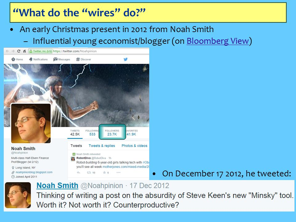 What do the wires do An early Christmas present in 2012 from Noah Smith –Influential young economist/blogger (on Bloomberg View)Bloomberg View On December 17 2012, he tweeted: