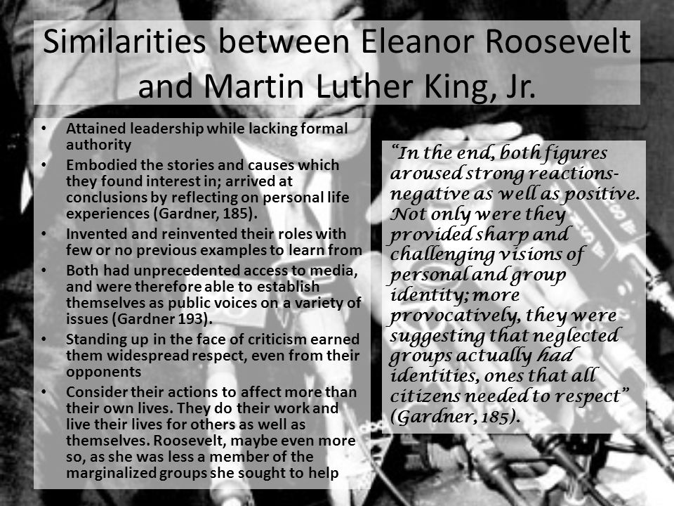 Similarities between Eleanor Roosevelt and Martin Luther King, Jr.