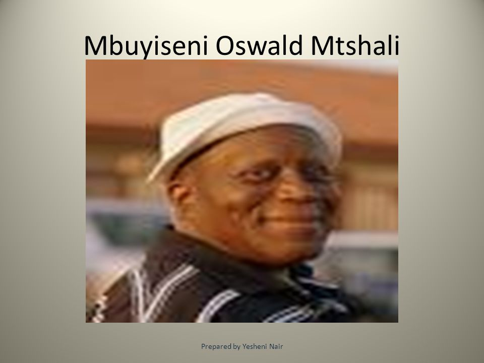 Background of poet Oswald Mbuyiseni Mtshali is a South African poet.