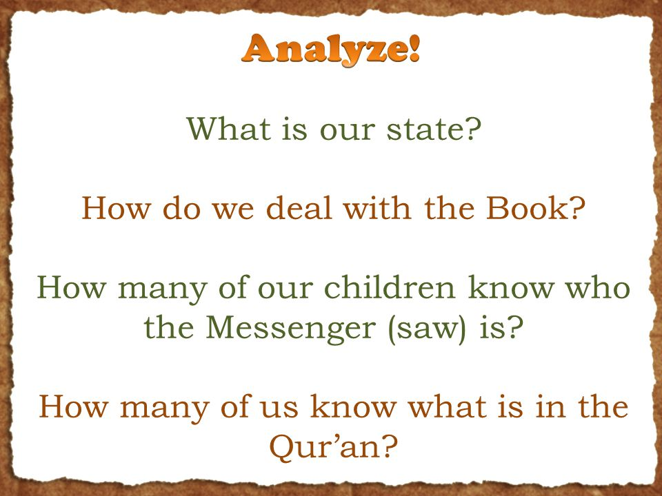 What is our state. How do we deal with the Book.