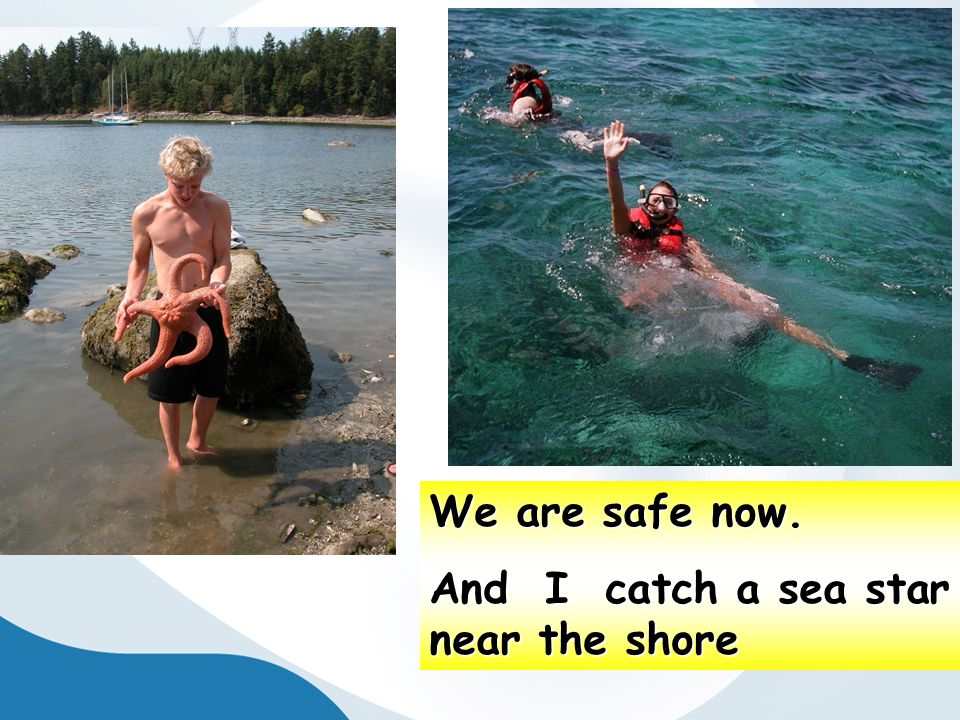 We are safe now. And I catch a sea star near the shore