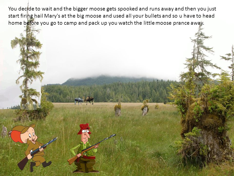 You decide to wait and the bigger moose gets spooked and runs away and then you just start firing hail Mary s at the big moose and used all your bullets and so u have to head home before you go to camp and pack up you watch the little moose prance away.