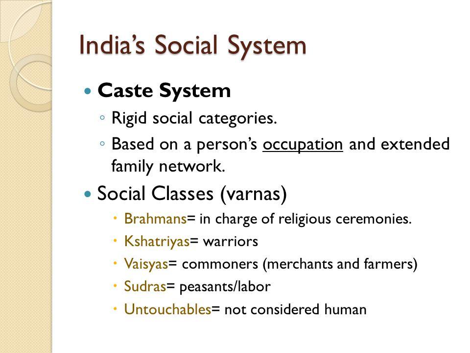 India's Social System Caste System ◦ Rigid social categories.