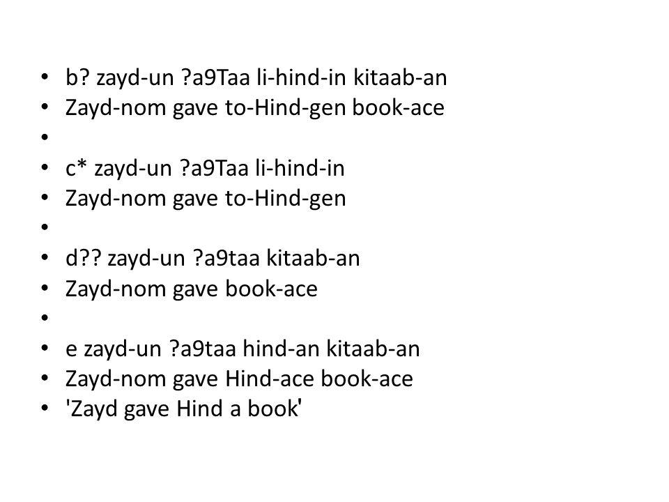 b? zayd-un ?a9Taa li-hind-in kitaab-an Zayd-nom gave to-Hind-gen book-ace c* zayd-un ?a9Taa li-hind-in Zayd-nom gave to-Hind-gen d?? zayd-un ?a9taa ki