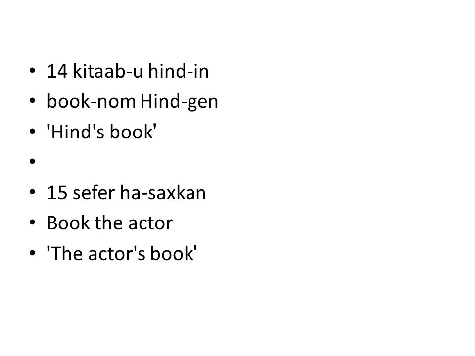 14 kitaab-u hind-in book-nom Hind-gen Hind s book 15 sefer ha-saxkan Book the actor The actor s book