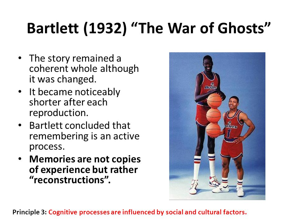 Bartlett (1932) The War of Ghosts The story remained a coherent whole although it was changed.