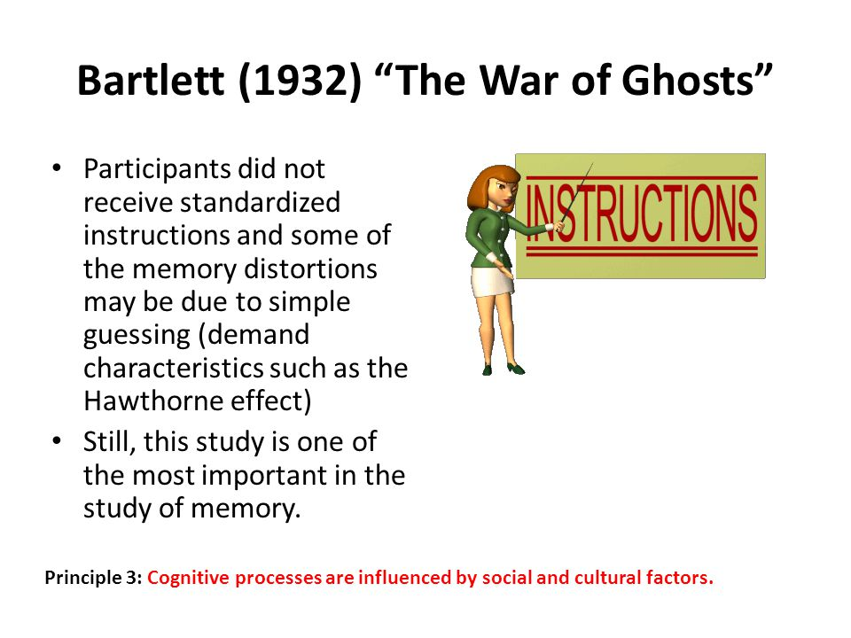 Bartlett (1932) The War of Ghosts Participants did not receive standardized instructions and some of the memory distortions may be due to simple guessing (demand characteristics such as the Hawthorne effect) Still, this study is one of the most important in the study of memory.