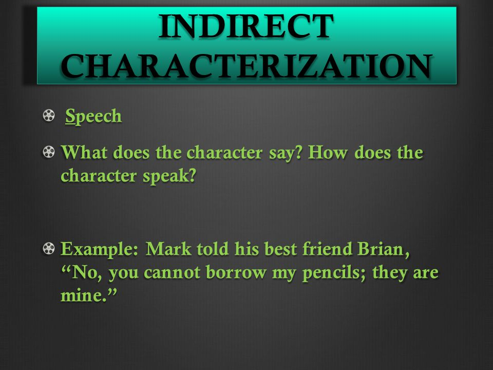 INDIRECT CHARACTERIZATION Speech Speech What does the character say.