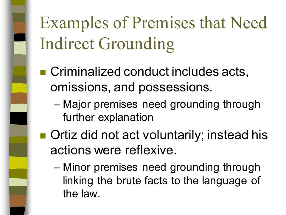 Examples of Premises that Need Indirect Grounding n Criminalized conduct includes acts, omissions, and possessions.