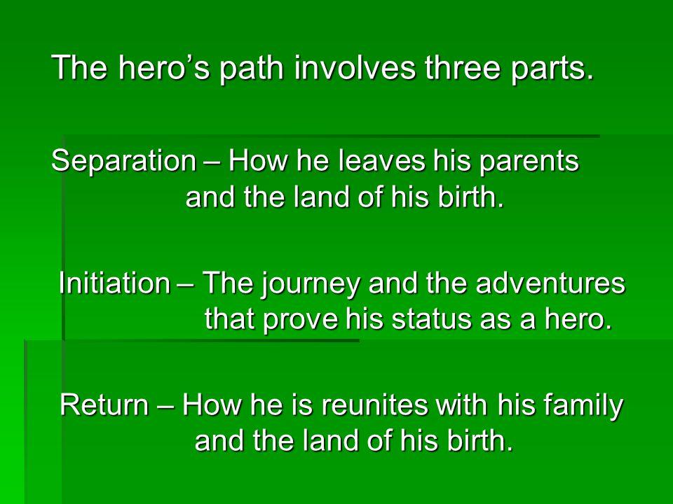 The hero's path involves three parts.
