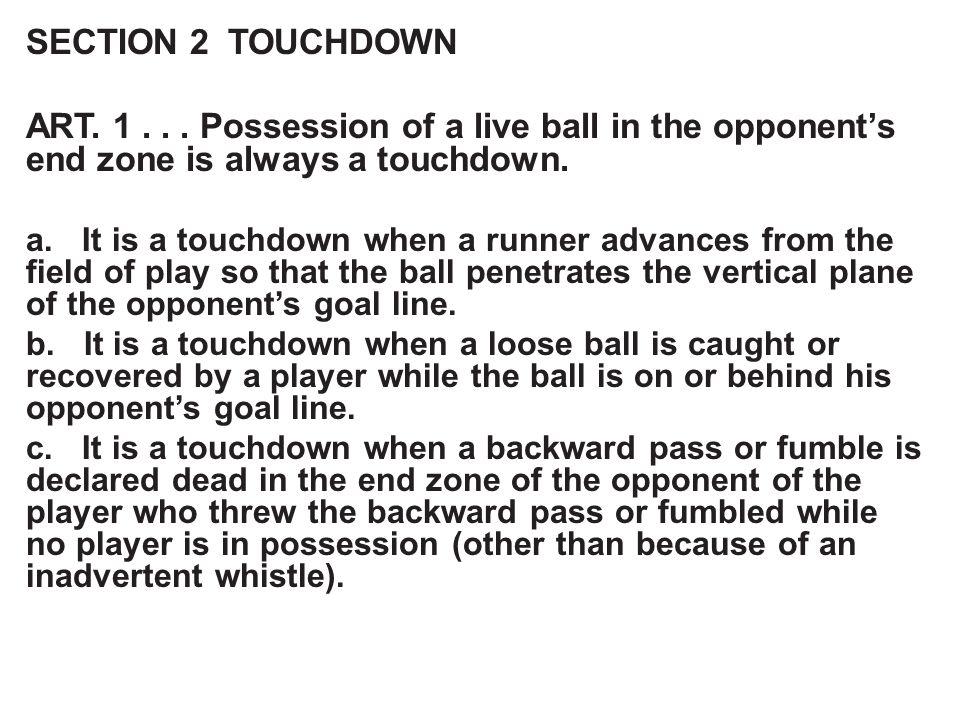 SECTION 2 TOUCHDOWN ART. 1...