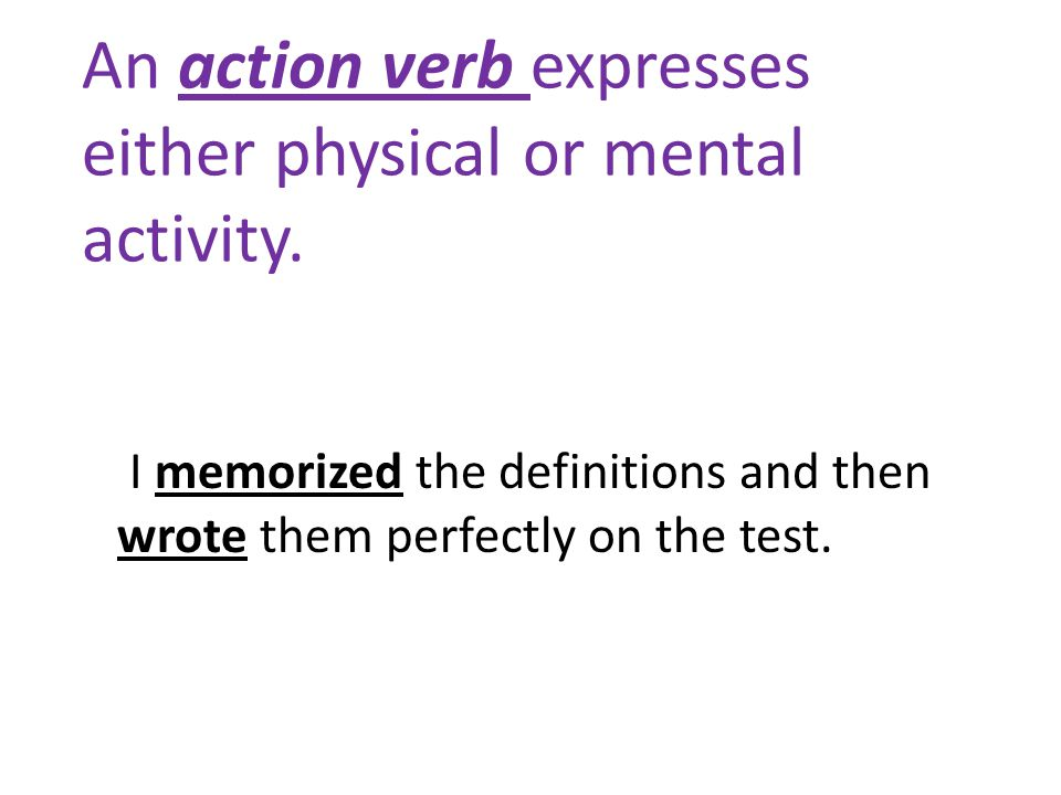 An action verb expresses either physical or mental activity. I memorized the definitions and then wrote them perfectly on the test.