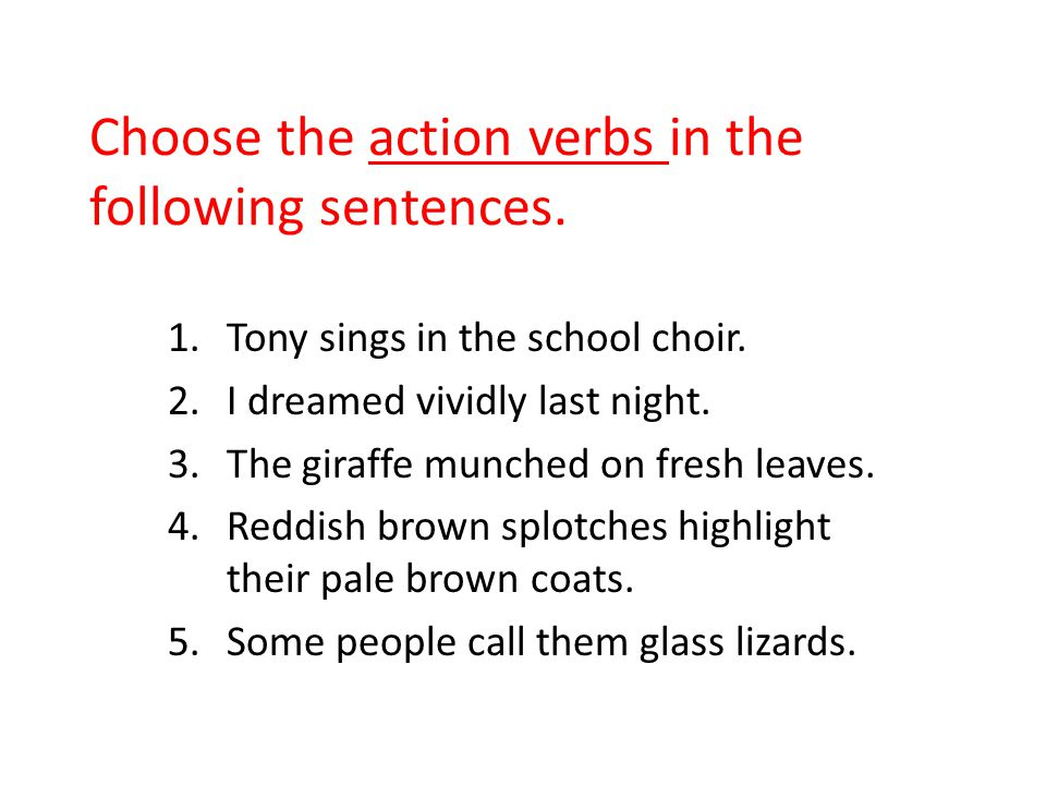 Choose the action verbs in the following sentences. 1.Tony sings in the school choir. 2.I dreamed vividly last night. 3.The giraffe munched on fresh l