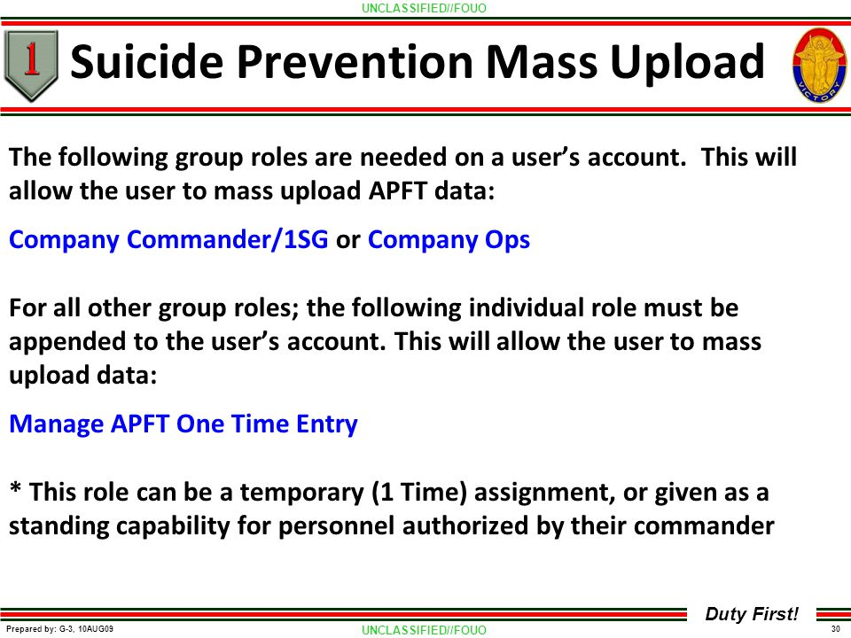 UNCLASSIFIED//FOUO 30 Prepared by: G-3, 10AUG09 Duty First! Suicide Prevention Mass Upload The following group roles are needed on a user's account. T