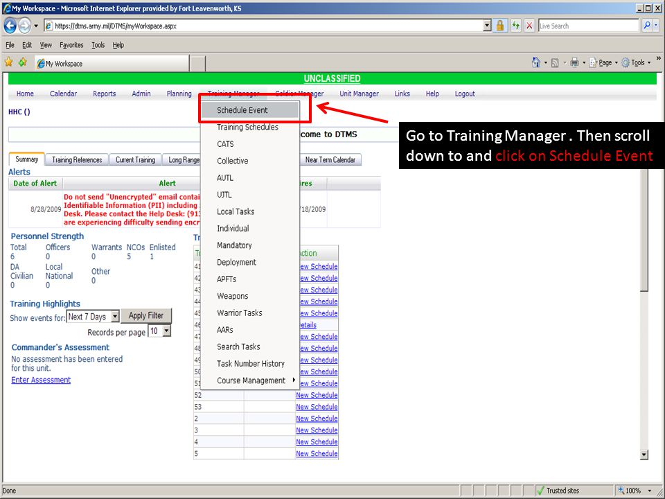 Go to Training Manager. Then scroll down to and click on Schedule Event
