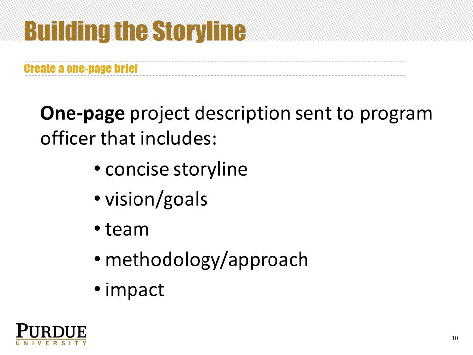 10 Building the Storyline Create a one-page brief One-page project description sent to program officer that includes: concise storyline vision/goals team methodology/approach impact