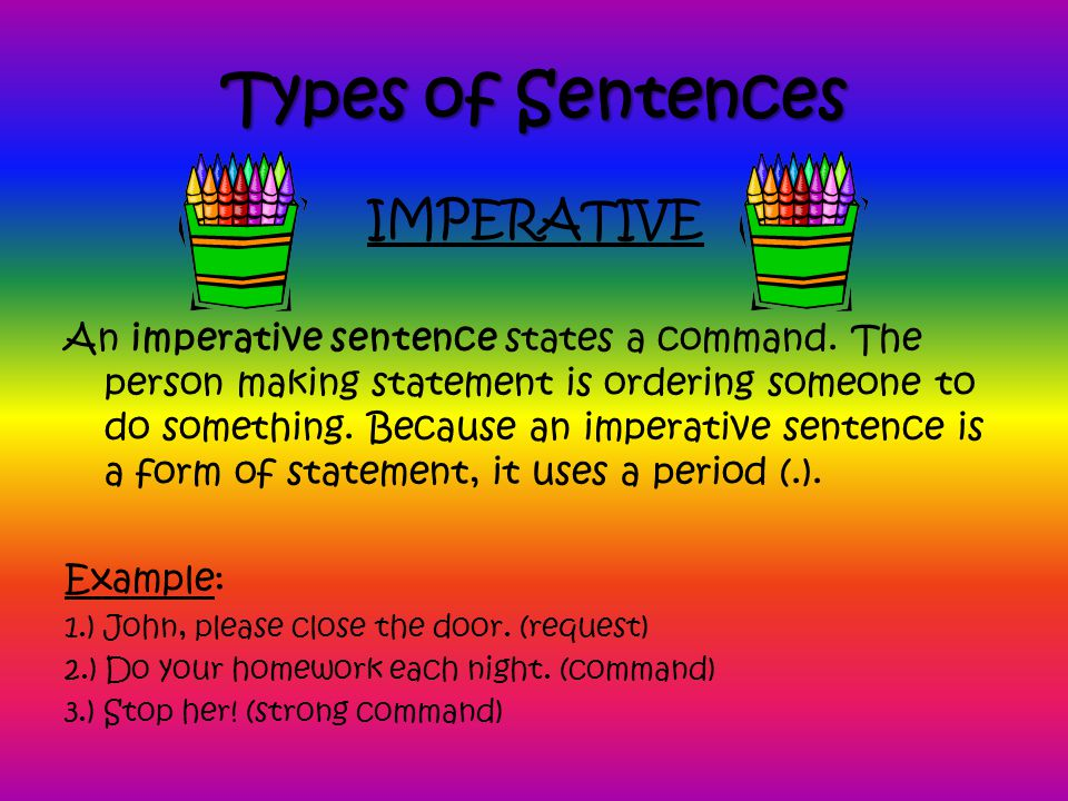 Types of Sentences An imperative sentence states a command.