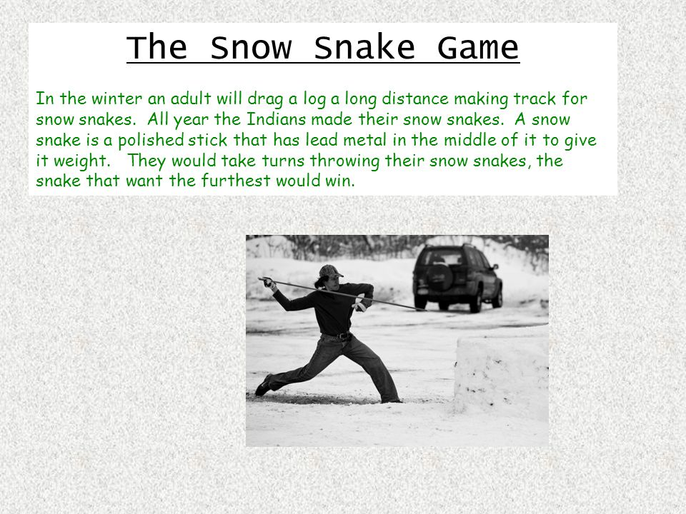 The Snow Snake Game In the winter an adult will drag a log a long distance making track for snow snakes.