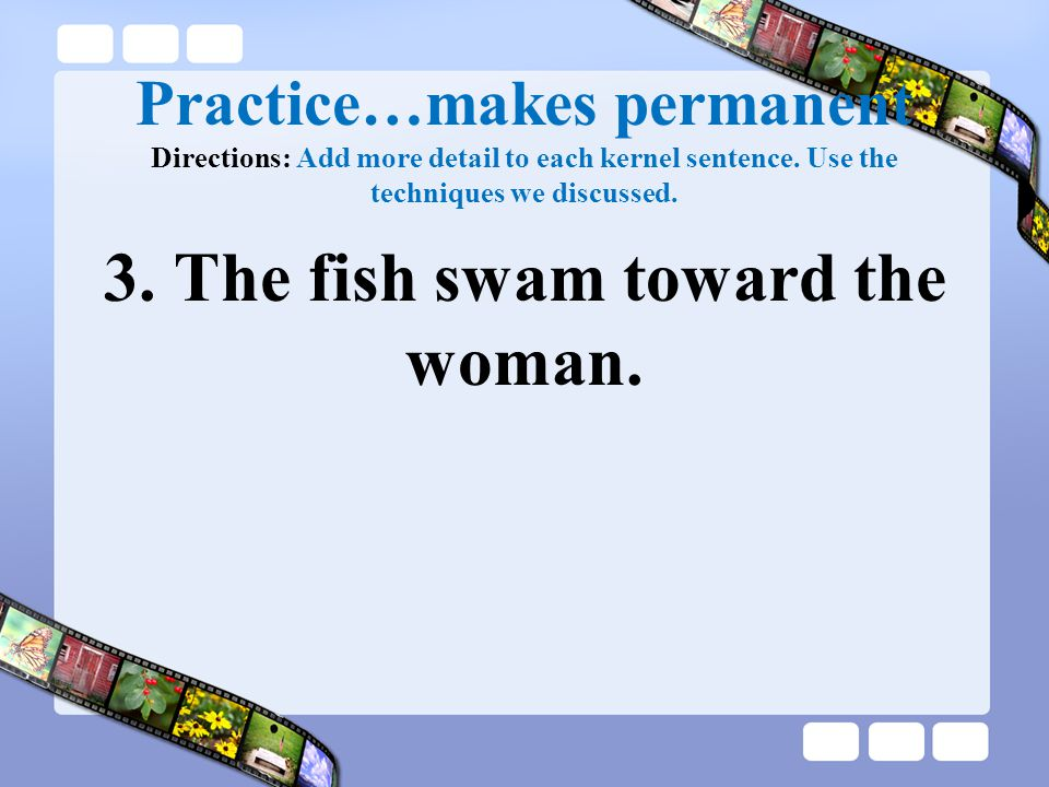 Practice…makes permanent Directions: Add more detail to each kernel sentence. Use the techniques we discussed. 3. The fish swam toward the woman.