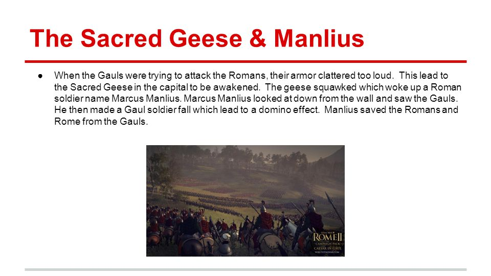 The Sacred Geese & Manlius ●When the Gauls were trying to attack the Romans, their armor clattered too loud. This lead to the Sacred Geese in the capi