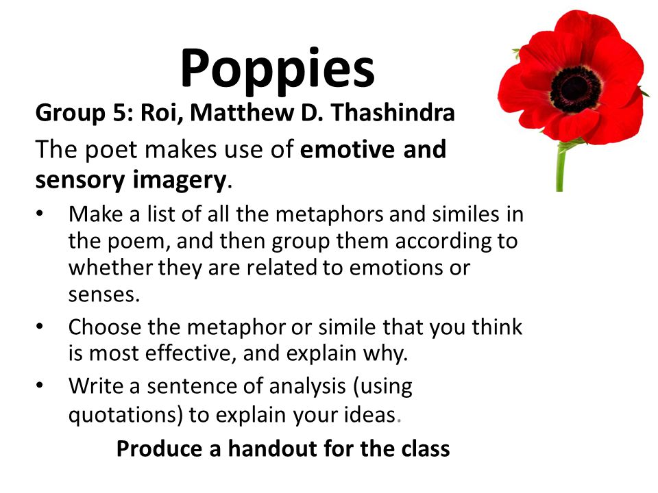 Poppies Group 5: Roi, Matthew D. Thashindra The poet makes use of emotive and sensory imagery. Make a list of all the metaphors and similes in the poe