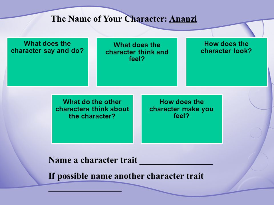 What does the character say and do? What does the character think and feel? How does the character look? What do the other characters think about the
