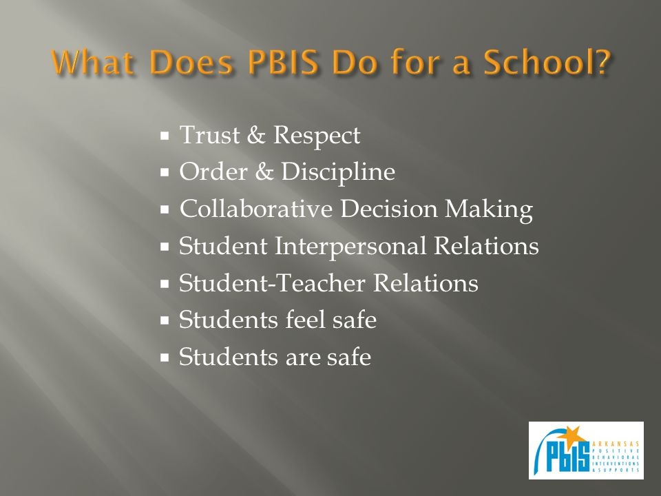 Trust & Respect  Order & Discipline  Collaborative Decision Making  Student Interpersonal Relations  Student-Teacher Relations  Students feel s