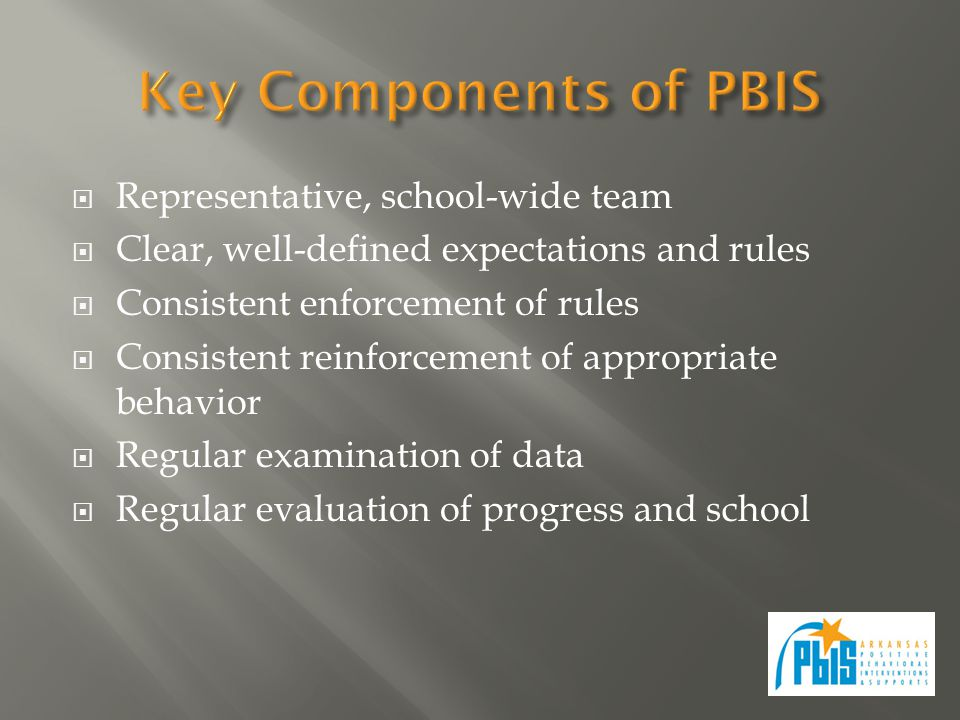  Representative, school-wide team  Clear, well-defined expectations and rules  Consistent enforcement of rules  Consistent reinforcement of approp