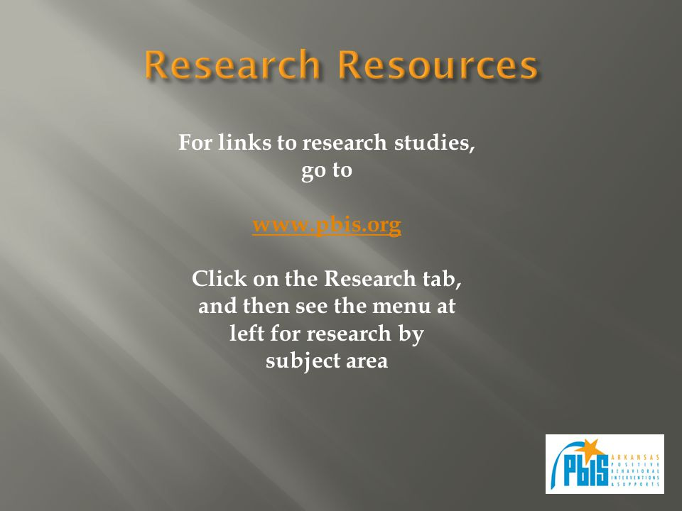 For links to research studies, go to www.pbis.org Click on the Research tab, and then see the menu at left for research by subject area