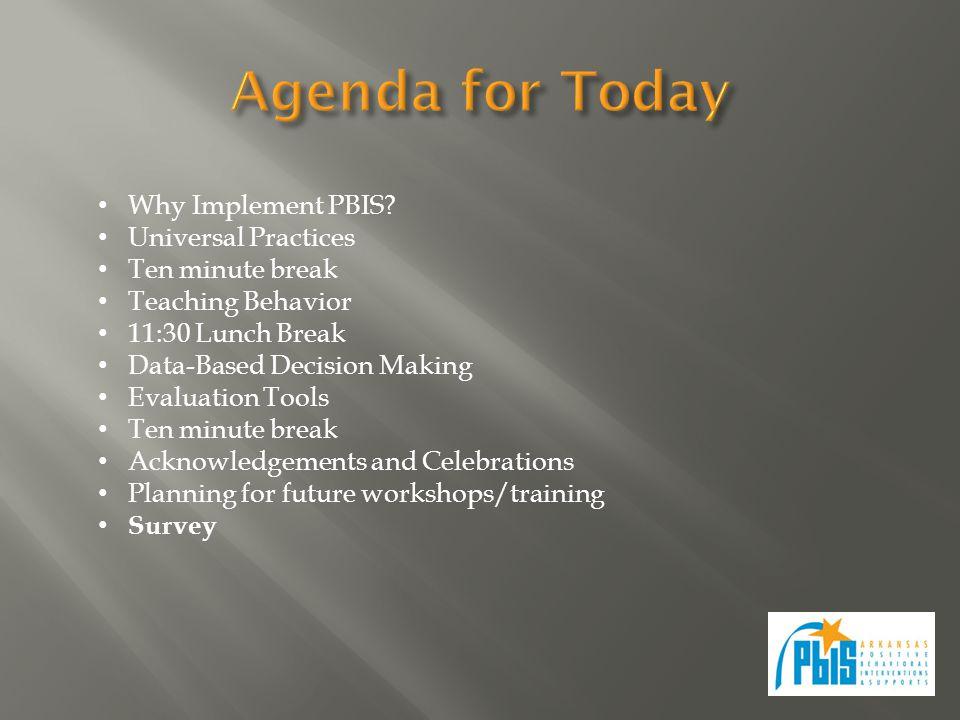 Why Implement PBIS? Universal Practices Ten minute break Teaching Behavior 11:30 Lunch Break Data-Based Decision Making Evaluation Tools Ten minute br