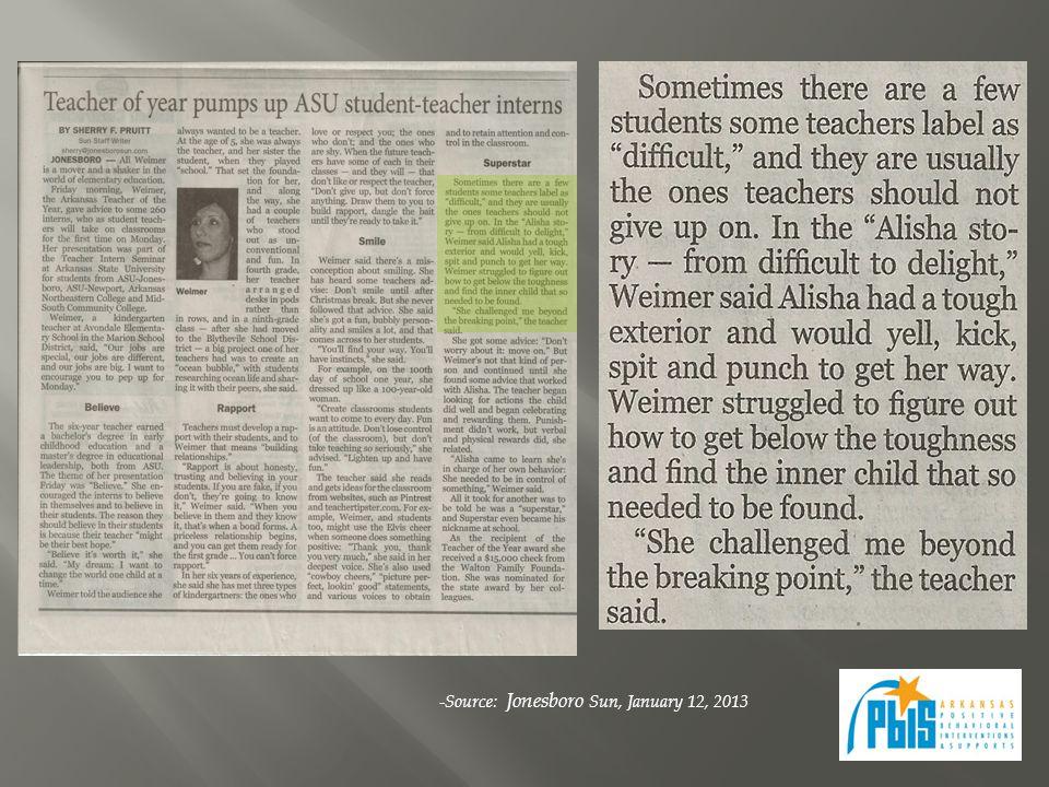 -Source: Jonesboro Sun, January 12, 2013