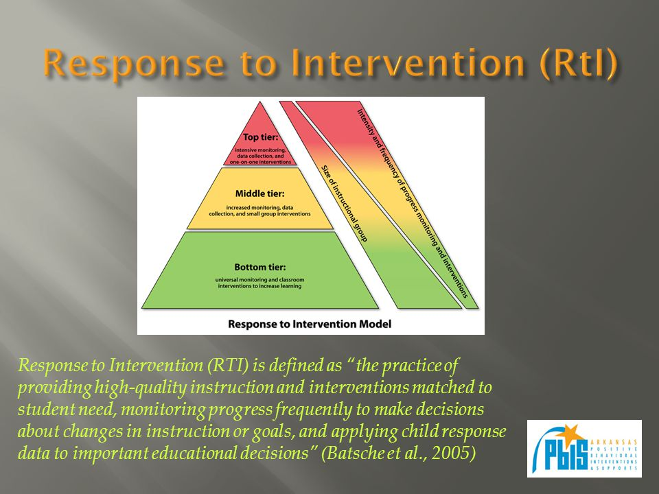 Response to Intervention (RTI) is defined as the practice of providing high-quality instruction and interventions matched to student need, monitoring progress frequently to make decisions about changes in instruction or goals, and applying child response data to important educational decisions (Batsche et al., 2005)