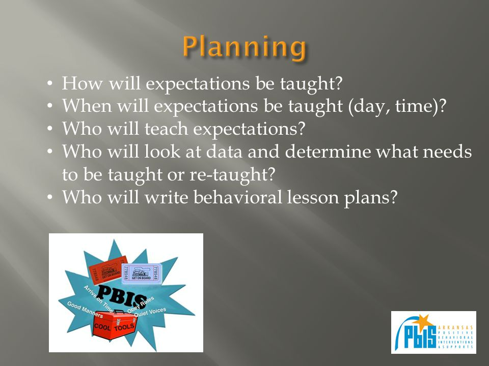 How will expectations be taught? When will expectations be taught (day, time)? Who will teach expectations? Who will look at data and determine what n