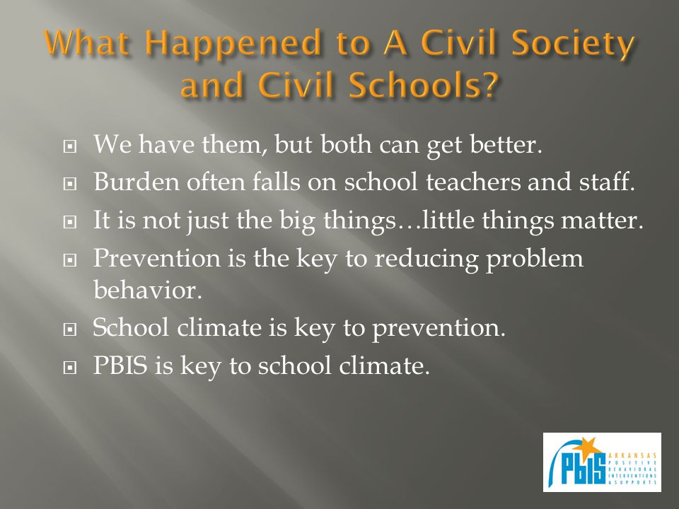  Think about schools  What makes for positive school climate.