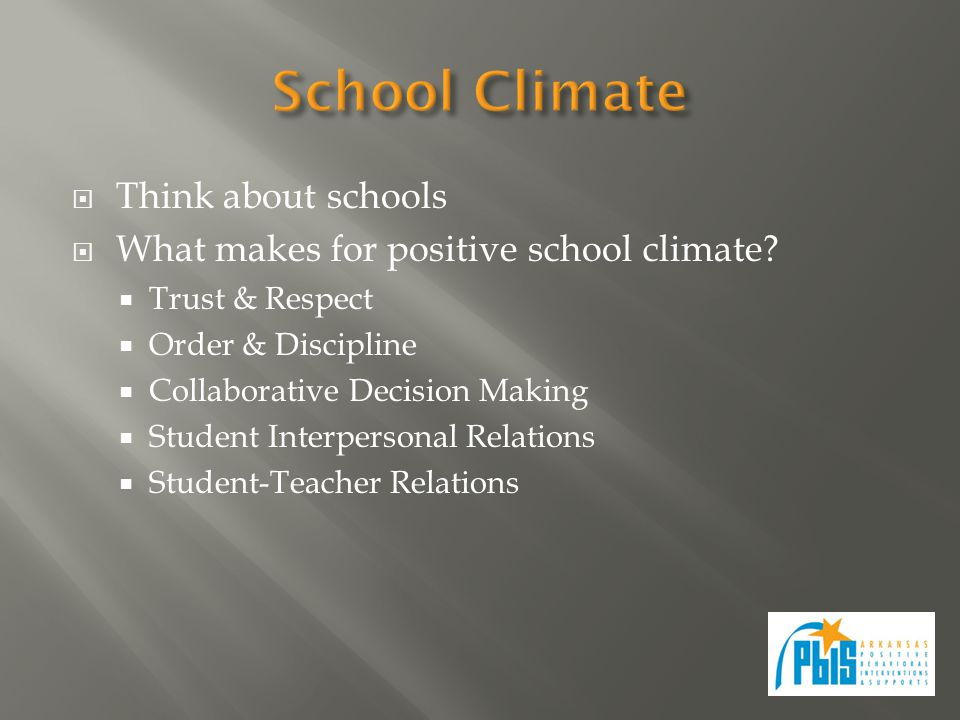  Think about schools  What makes for positive school climate.