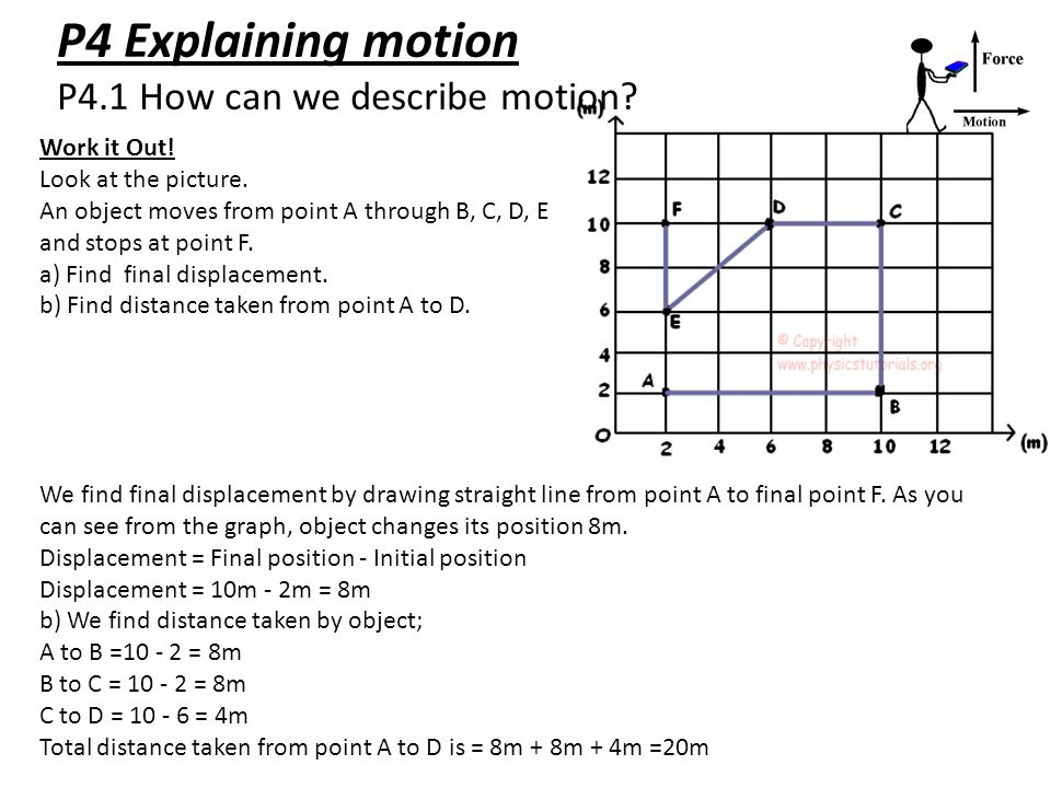 P4 Explaining motion P4.1 How can we describe motion? Work it Out! Look at the picture. An object moves from point A through B, C, D, E and stops at p